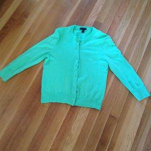 J Crew Lime Green Cardigan Sweater